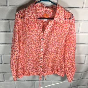 HEARTS OF PALM Coral Top tab sleeve Size 12
